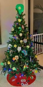 Christmas Tree with Pickleball Decorations